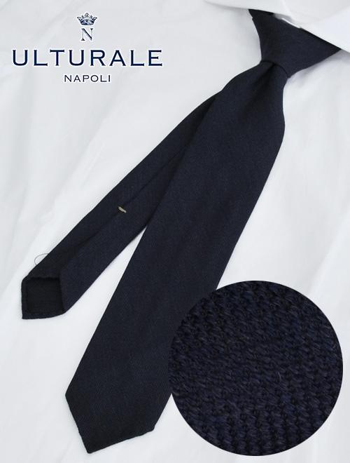 ウルトゥラーレ  ULTURALE ネイビーブルー トレピエゲ 3つ折りネクタイ ウールシルク バケット織り 一枚地仕立て プレゼント