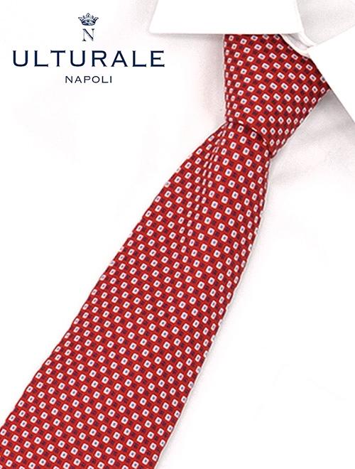 【クリアランス開催中】ウルトゥラーレ  ULTURALE レッドカラー セッテピエゲ(七つ折り) スクエアドット ブロック模様シルクネクタイ シルク メンズアクセサリー