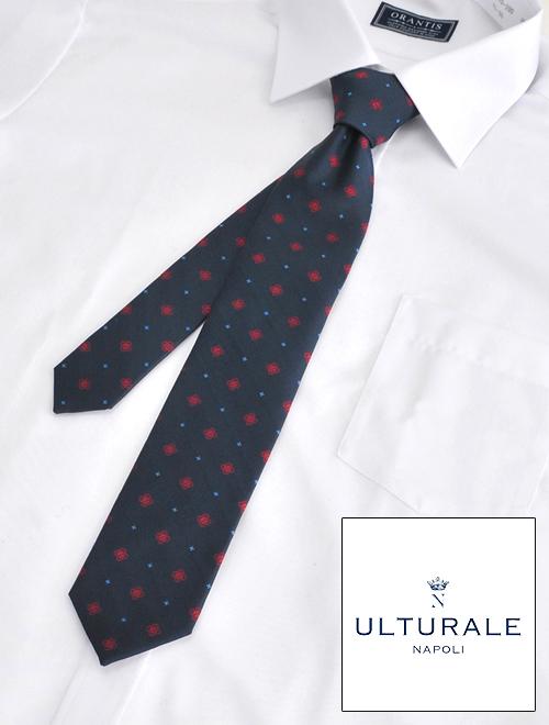 ウルトゥラーレ  ULTURALE メンズ ネクタイ シルク100% セッテピエゲ 7つ折り ネイビーフラワー刺繍 ハート チャーム付き イタリア製