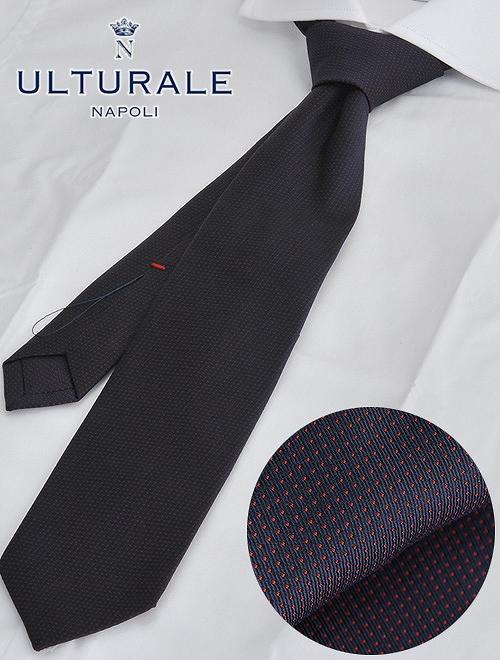 ウルトゥラーレ  ULTURALE イタリア製 ネイビー&レッド ピンドット柄 セッテピエゲ 大剣7.5cm シルク100%ネクタイ 7つ折り メンズ