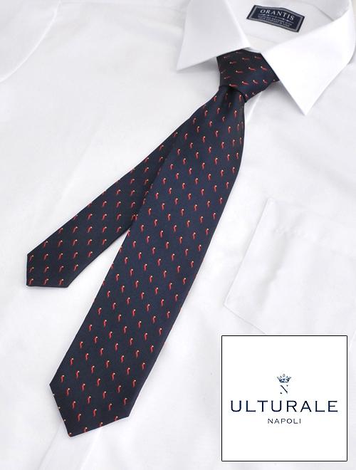 ウルトゥラーレ  ULTURALE メンズ ネクタイ シルク100% セッテピエゲ 7つ折り ネイビー コルノ 刺繍 チャーム付イタリア製 アクセサリー 剣先幅7cm