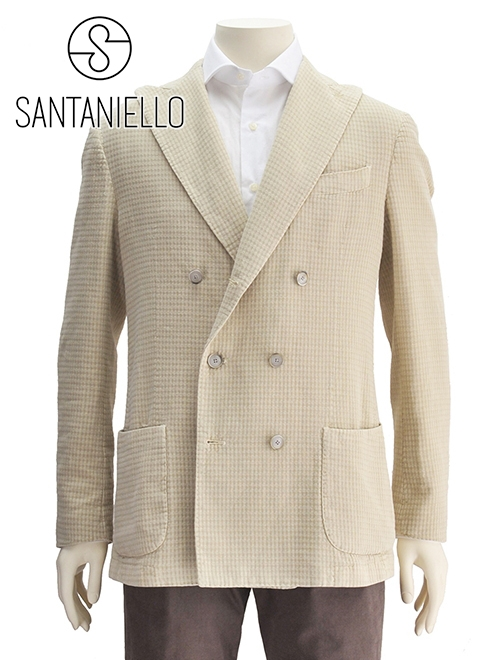 【クリアランスSALE30%off】サンタニエッロ  イタリア製 SANTANIELLO 国内正規品 メンズ ダブルブレストジャケット オフホワイト gl782mf-ds2558 麻ミックス ワッフルコットン 本切羽 でらでら 公式ブランド