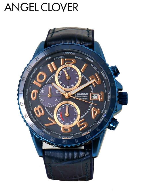 【今ならクーポンで15%off】エンジェルクローバー  AngelClover 国内正規品 メンズ 腕時計 モンド ソーラークオーツ 日付表示 ラウンド ワールドタイマー パワーリザーブインジケーター レザー&ラバーバンド ブルー でらでら 公式ブランド