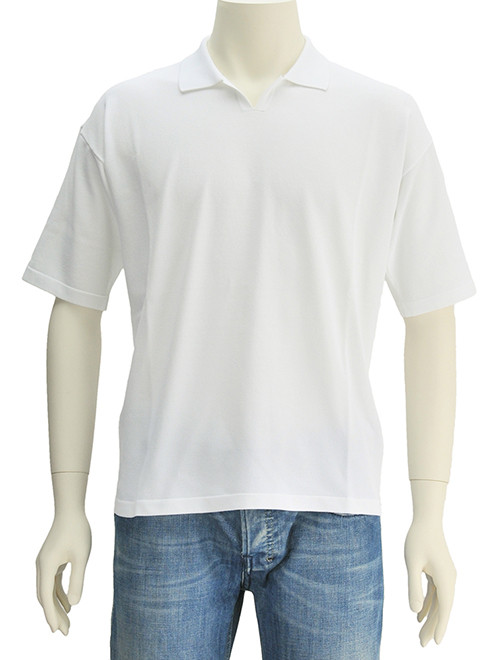 ロベルトコリーナ  roberto collina BIANCO ホワイト 光沢感あるストレッチ性 スキッパーポロシャツ 46-48 18春夏