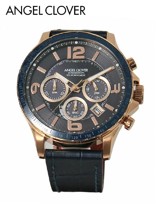 【スーパーSALE期間Point6倍!】エンジェルクローバー  AngelClover 国内正規品 メンズ 腕時計 タイムクラフト ソーラークオーツ ラウンド型 セラミックベゼル クロノグラフ レザーバンド ネイビーブルー でらでら 公式