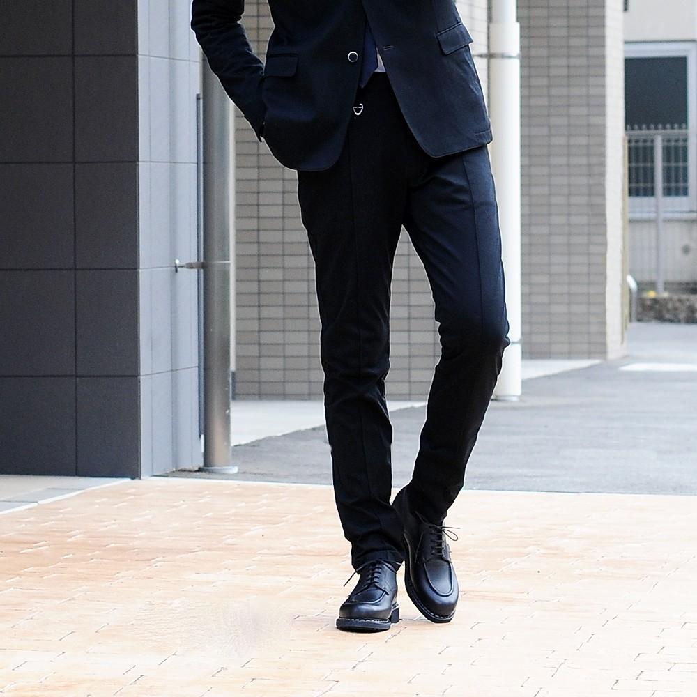 【POINT10倍-15周年SALE】ソリード  別注パンツ Solido ブラック センタープリーツ付 定番の超度詰天竺 ドヅメパンツ スウェットスラックス