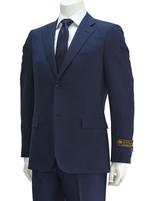 ロロピアーナ  Superlativo cloth by LOROPIANA ジランダードリーム ZELANDER DREAM ネイビーブルー 水色ヘアラインストライプ スリムフィット2つボタンスーツ でらでら 公式ブランド