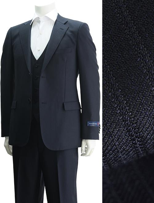 cloth by エルメネジルド・ゼニア  ZEGNA ELECTA スーパーファインウール ネイビー 3ピース 濃紺の織りストライプ 親子縞 エレガントスーパースリム2つ釦スーツ  スリーピース3ピース ジレ付き 別注 メイドインジャパン