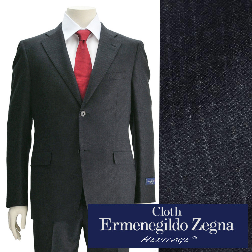エルメネジルドゼニア  cloth by Ermenegildo Zegna メンズスーツ ヘリテージ HERITAGE グレー チョークストライプ ウールジャケット スリム 2つボタンシングル でらでら 公式ブランド