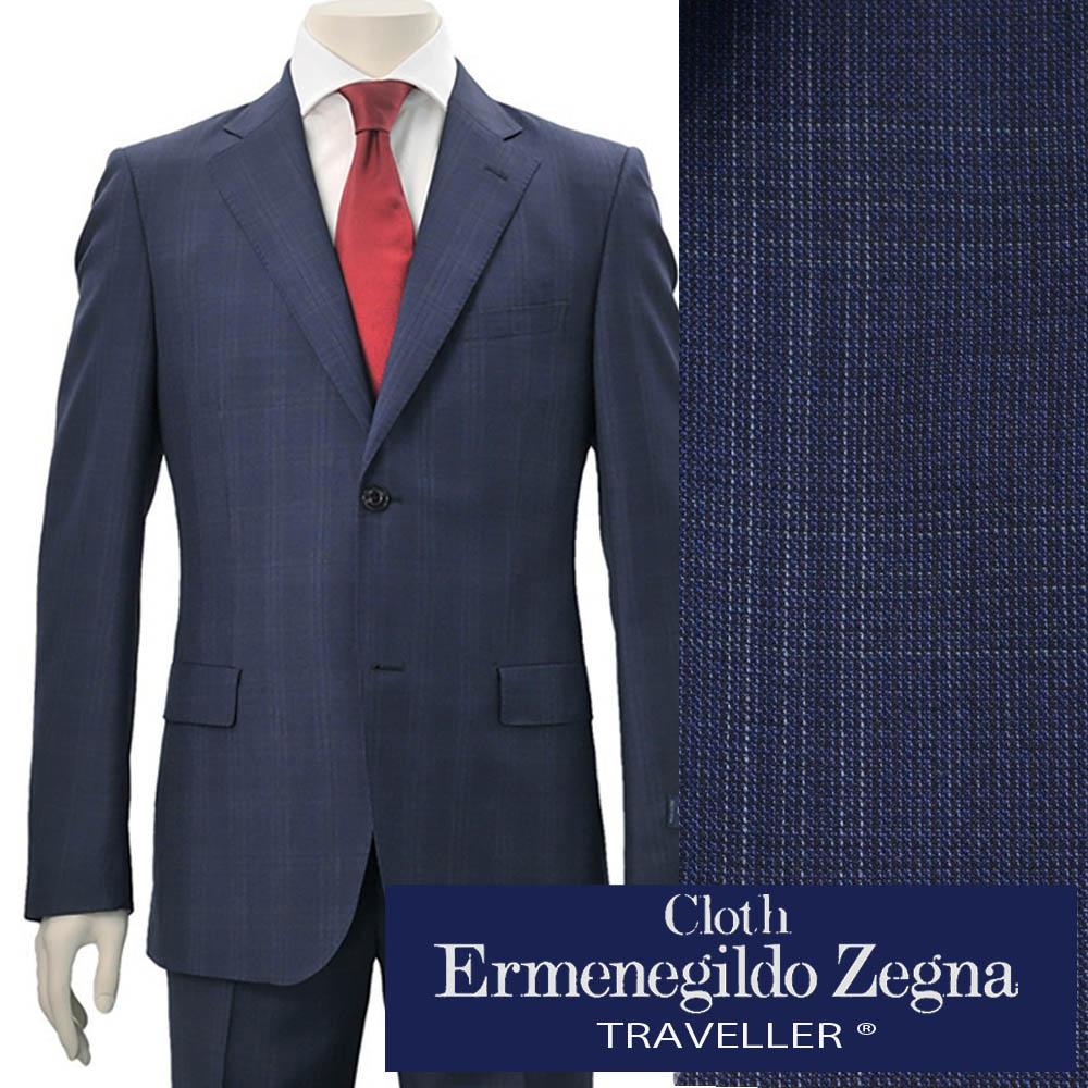 エルメネジルドゼニア  cloth by Ermenegildo Zegna ビジネススーツ メンズ 19春夏 TRAVELLER トラベラー ウール ブルーネイビー 青ウインドーペン織り スリムフィット2つボタン シングル でらでら 公式ブランド
