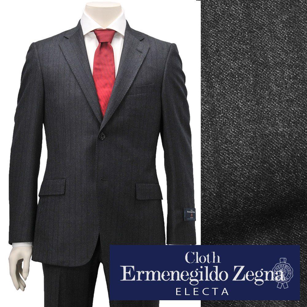 エルメネジルド ゼニア  cloth by Ermenegildo Zegna メンズスーツ シングル2つボタン ELECTA エレクタ ウール グレー&ストライプ 秋冬 でらでら 公式ブランド