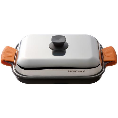 【あす楽】 (ご購入で特典プレゼント) ビタクラフト グリルパン No,3001 vitacraft 蒸し焼きスチームロースター テレビショッピングで話題!シリコングリップ&レシピ付 フライパン グリル 通販 (d)