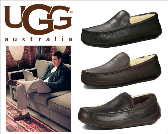 5379 UGG UGG men's slip-on LEATHER MENS ASCOT Ascot leather Shearling shoes model: 5379B