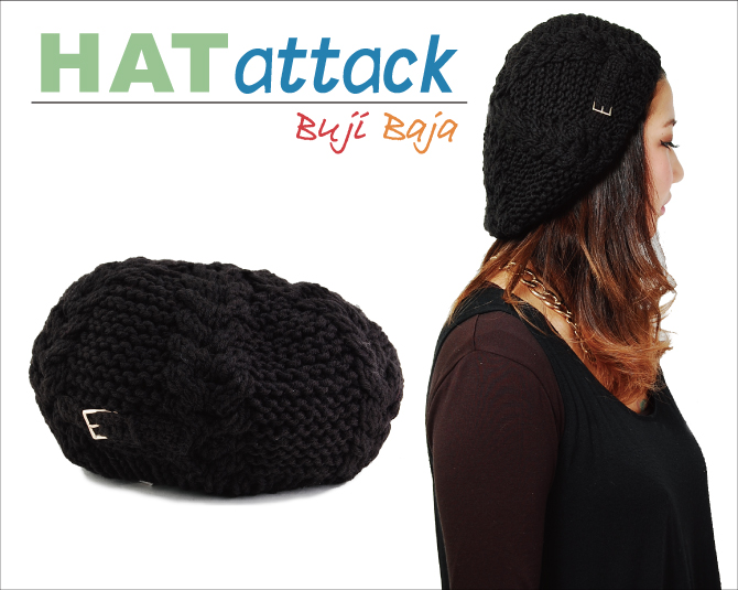 Knit beret HAT ATTACK knit Cap Hat attack Cable Beret with Knit Tab Buckle  ladies Hat genre featured high 8a6fa62a1bc