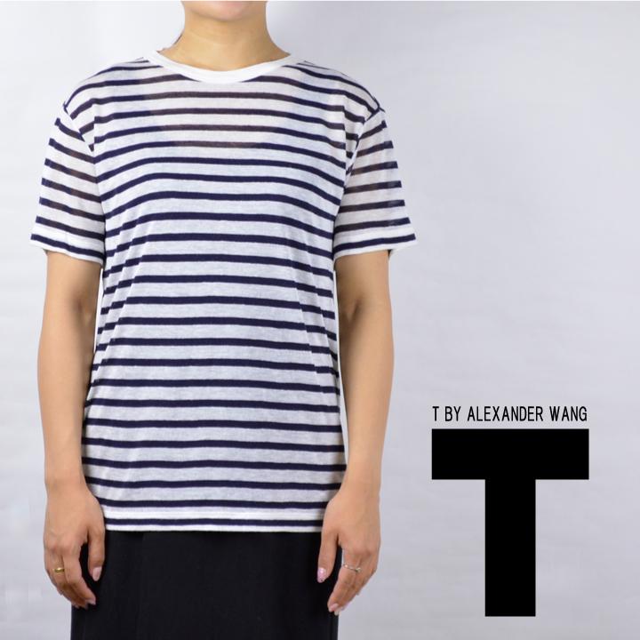 【300円OFFクーポン!+5%還元!】アレキサンダーワン tシャツ ボーダー T by Alexander Wang STRIPE RAYON LINEN SHORT SLEEVE TEE