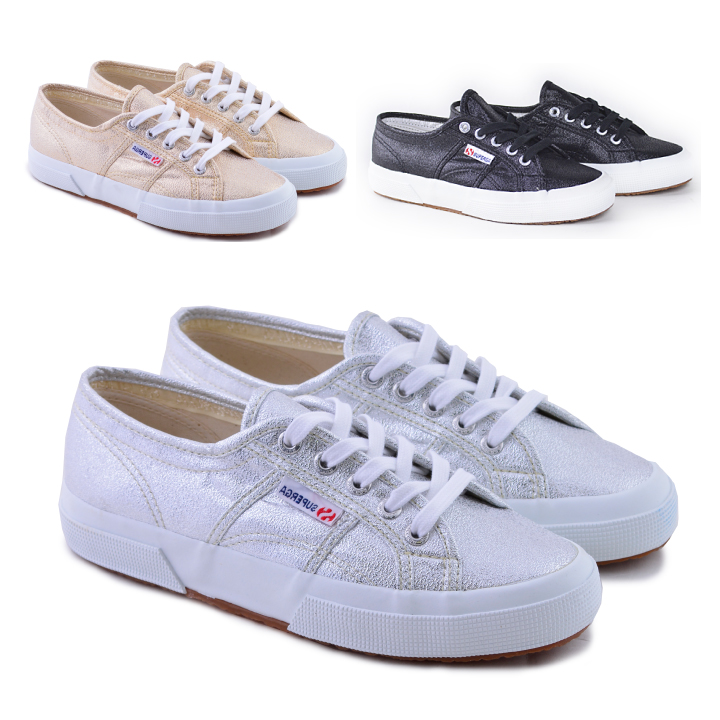 Superga SUPERGA 2750 canvas glitter sneakers silver ladies white 2750  sneakers 2750-LAMEW