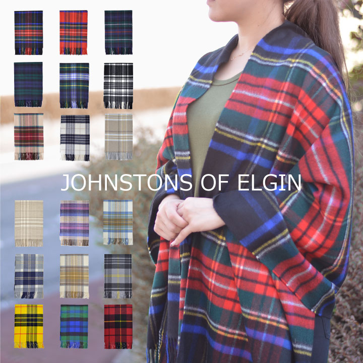 Johnstons of Elgin cashmere scarf stole scarf large thick 190 cm x 72 cm type Johnstons (scarf scarf blanket) Tartan scarf Cashmere Tartan stoles