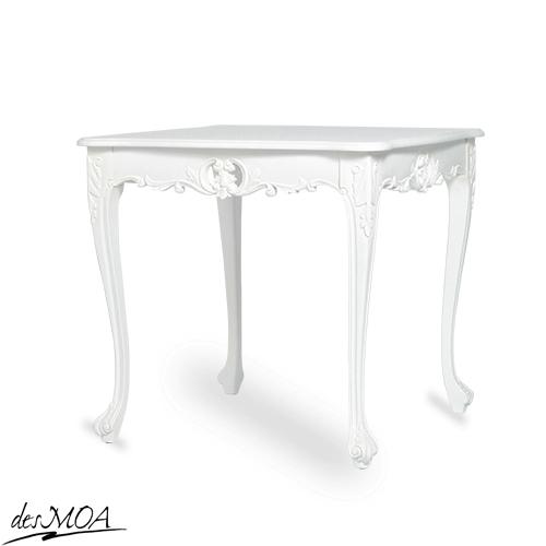 ≪小振りサイズの80cm角!≫ 白いアンティーク調 猫脚 ダイニングテーブル センターテーブル カフェテーブル ティーテーブル 木製テーブル フレンチスタイル 輸入家具 店舗什器 白家具 / ホワイト系 4235-9-18