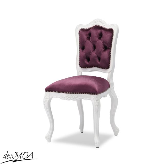 ≪イタリアンスタイル≫アンティーク調 ダイニングチェア 椅子 サイドチェア 木製フレームチェア 猫脚 白家具 輸入家具 / ホワイト×パープル系 6085-18F222B