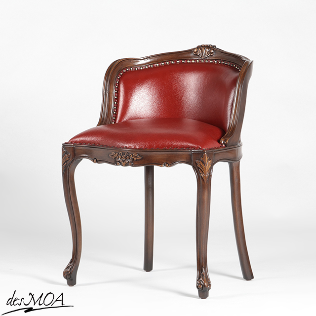 ≪アンティーク調 コンパクトチェア≫ ドレッシングチェア 椅子 猫脚 スツール 木製フレームチェア 本革 レザー 小型家具 輸入家具 / ブラウン×レッド系 6090-N-5L3