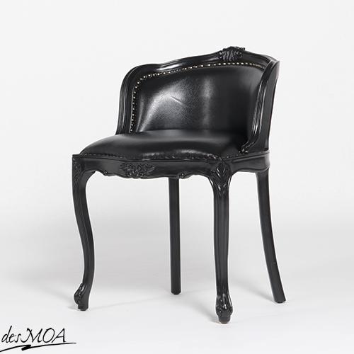 ≪アンティーク調 コンパクトチェア≫ ドレッシングチェア 椅子 猫脚チェア スツール 木製フレームチェア 本革 レザー 小型家具 輸入家具 黒家具 / ブラック系 6090-N-8L6