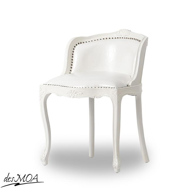 ≪アンティーク調 コンパクトチェア≫ ドレッシングチェア 椅子 猫脚チェア スツール 木製フレームチェア 合皮 小型家具 輸入家具 白家具 / ホワイト系 6090-N-18PU65