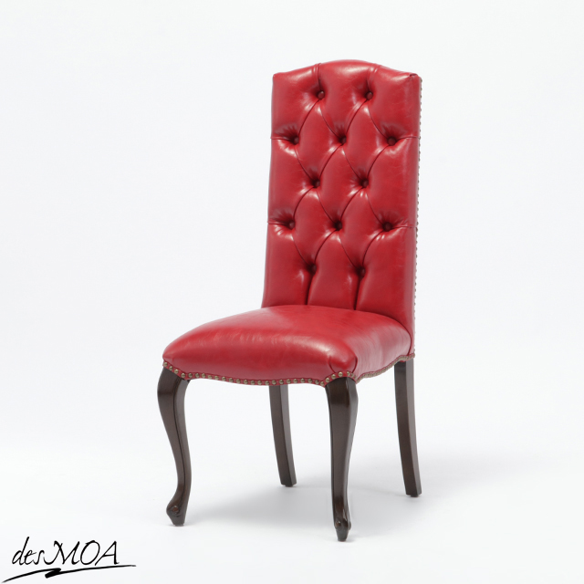 【ヴィンセントシリーズ】アンティーク調 ダイニングチェア ハイバック 椅子 猫脚 合皮 英国 クラシカル 輸入家具 レッド 9014-5P63B