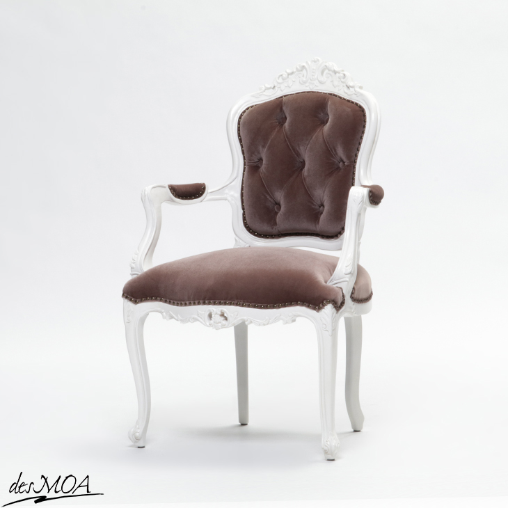 【Symphony シンフォニー】アームチェア アンティーク調 ロココスタイル 1人掛け 椅子 猫脚 輸入家具 ディスプレイ什器 木製家具 布地 ホワイト×グレイッシュブラウン 6093-H-18F37B