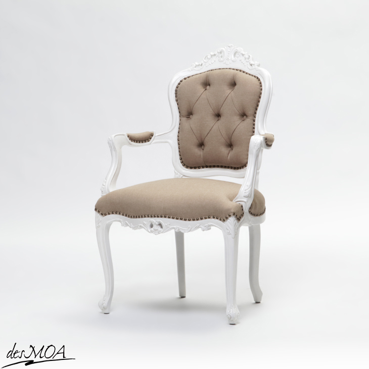 ≪優雅なアンティーク調チェア≫ ロココスタイル アームチェア パーソナルチェア 肘掛け椅子 木製フレームチェア 猫脚 フレンチスタイル 輸入家具 白家具 / ホワイト×ベージュ系 6093-H-18F53B