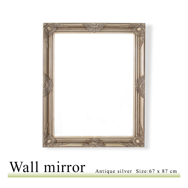 アンティーク調 壁掛けミラー Mサイズ 67×87 ウォールミラー 鏡 角型 アンティークシルバー Q-MR-501