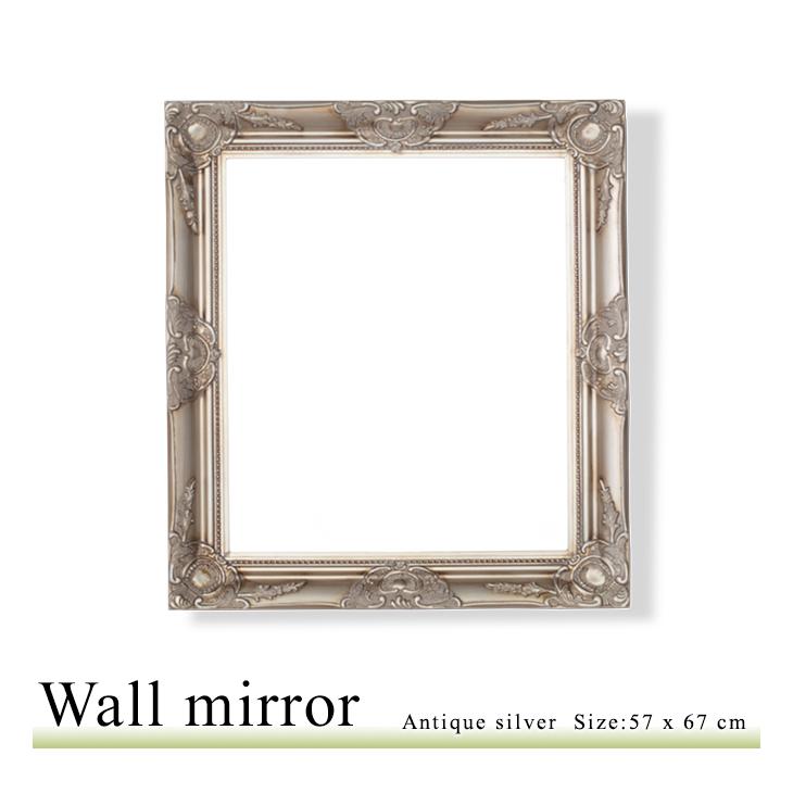 アンティーク調 壁掛けミラー Sサイズ 57×67 ウォールミラー 鏡 角型 洗面鏡 アンティークシルバー Q-MR-510