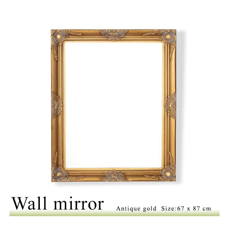 アンティーク調 壁掛けミラー Mサイズ 67×87 ウォールミラー 鏡 角型 アンティークゴールド Q-MR-601