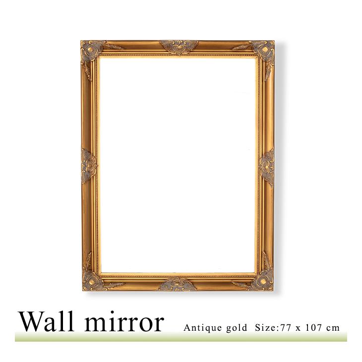 アンティーク調 壁掛けミラー Lサイズ 77×107 ウォールミラー 鏡 角型 アンティークゴールド Q-MR-602