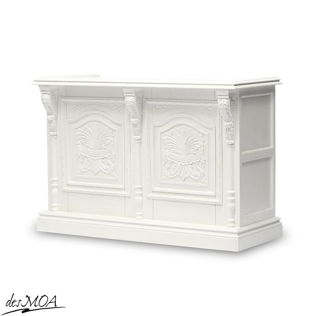 アンティーク調 カウンター 1.5M レジ台 カウンターテーブル 引き出し付き コード穴付き 店舗什器 木製家具 ホワイト 5054-1.5MC-18