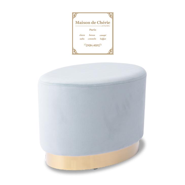 【Maison de Cherie メゾンドシェリー】 アンティーク調 スツール オーバル型 チェア 木製家具 輸入家具 ベロア調 布地 / ライトブルー×ゴールド HN-160CC22