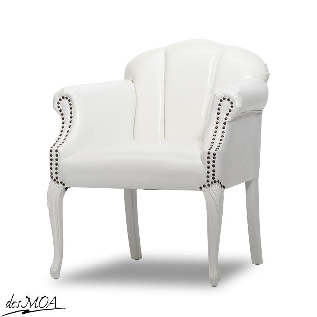 ≪貝殻モチーフ シェルファ≫ アンティーク調 シェルチェア 1人掛け パーソナルチェア アームチェア 椅子 輸入家具 合皮 / ホワイト 6096-18PU65