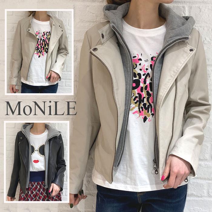 MoNiLE モニーレ ラムレザーフード取り外しジャケット 登場大人気アイテム 通信販売
