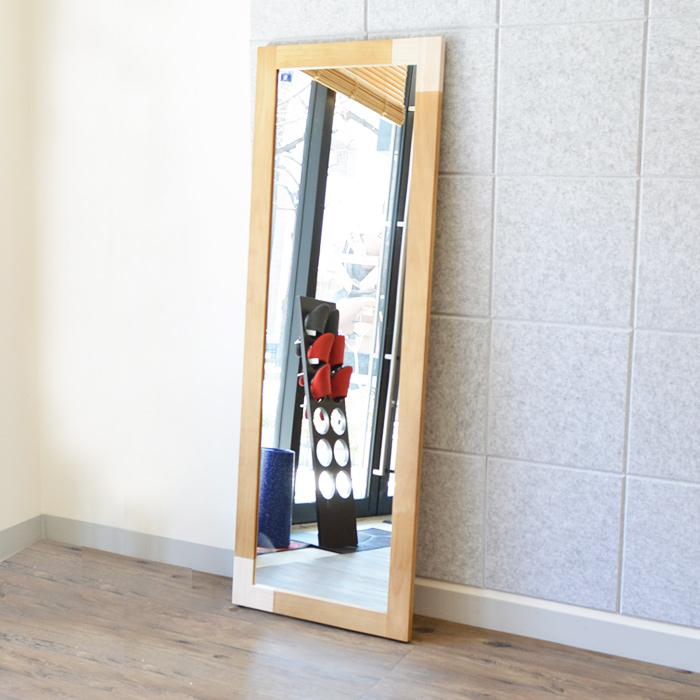 【レビュー特典あり】 ミラー 壁掛け 全身 鏡 姿見 壁面 玄関 おしゃれ リビング ナチュラル 化粧 高品質 立掛けミラー パイン材 飛散防止加工 KACCO 【送料無料】