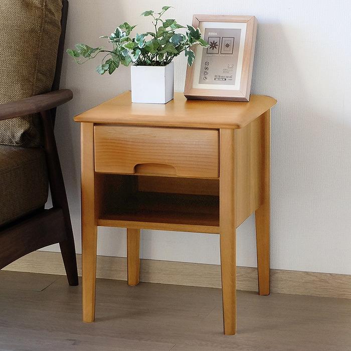 サイドテーブル おしゃれ 北欧 テーブル 無垢材 無垢 おしゃれ 収納 アルダー材 ERIS エリス 幅40cm【送料無料】【2年保証】