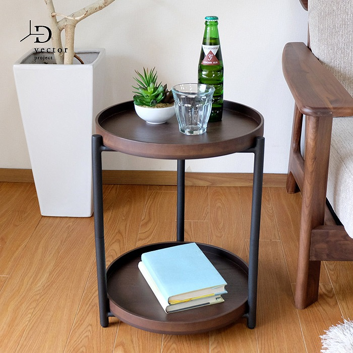 【レビュー特典あり】 ISSEIKI SYMBOL SIDE TABLE (MBR/BK) 一生紀 シンボル サイド テーブル (ミディアムブラウン/ブラック)
