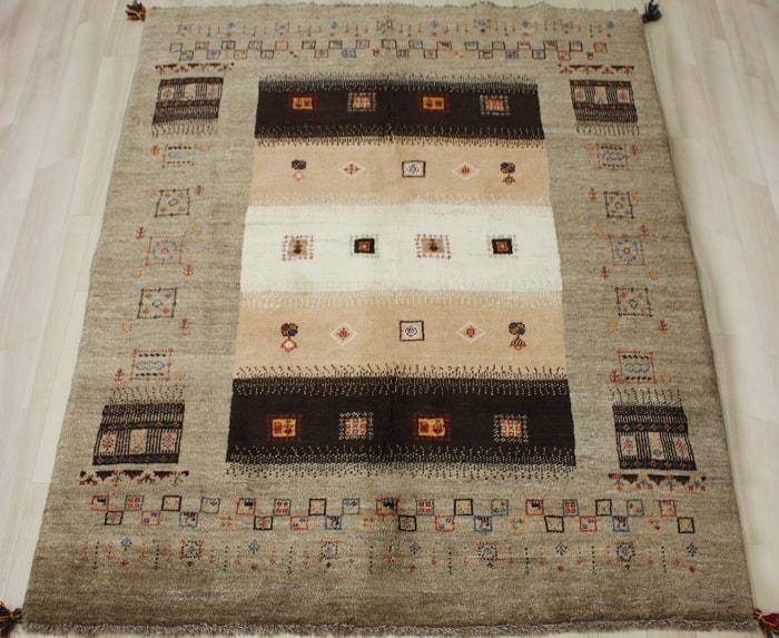 ペルシャ製ギャッベ 手織りラグマット ペルシャギャベ BB24984 (Y) 約148×195cm ブラウン系 ウールカーペット ウールラグ ウール100% お買い物マラソン