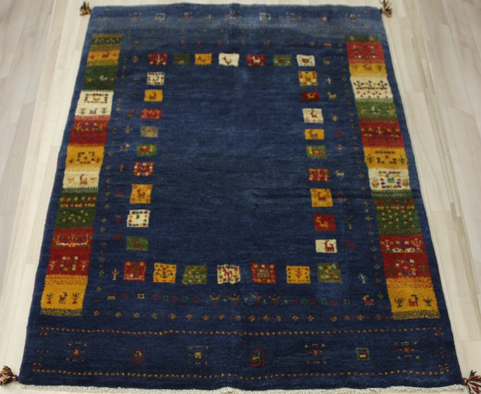 ペルシャ製ギャッベ 手織りラグマット ペルシャギャベ BB28020 (Y) 約153×201cm ブルー ネイビー系 ウールカーペット ウールラグ ウール100% お買い物マラソン