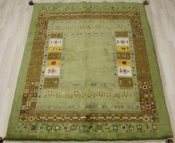 ペルシャ製ギャッベ 手織りラグマット ペルシャギャベ BB29066 (Y) 約149×194cm グリーン系 ウールカーペット ウールラグ ウール100% お買い物マラソン