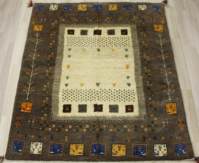 ペルシャ製ギャッベ 手織りラグマット ペルシャギャベ BT1500 (Y) 約148×196cm ブラウン系 ウールカーペット ウールラグ ウール100% お買い物マラソン