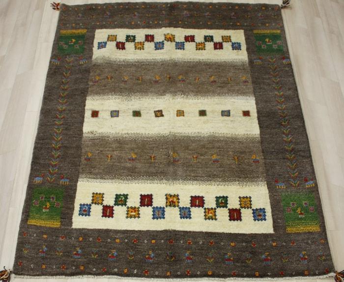 ペルシャ製ギャッベ 手織りラグマット ペルシャギャベ BT2037 (Y) 約155×196cm ブラウン系 ウールカーペット ウールラグ ウール100% 引っ越し 新生活
