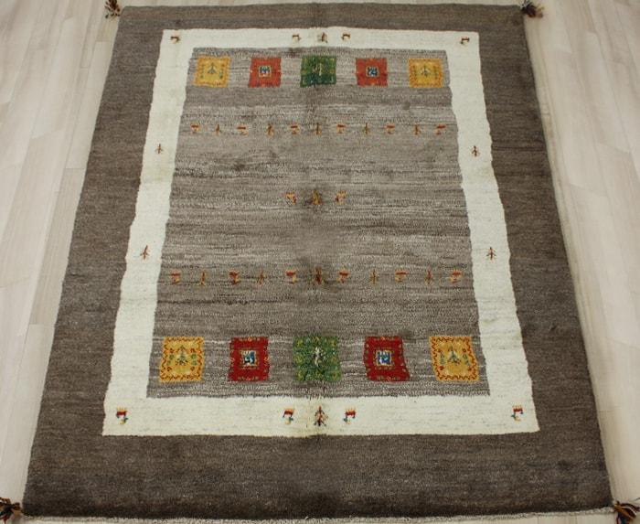 ペルシャ製ギャッベ 手織りラグマット ペルシャギャベ BT2043 (Y) 約150×200cm ブラウン系 ウールカーペット ウールラグ ウール100% お買い物マラソン