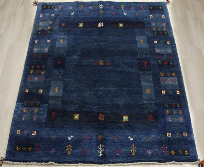 ペルシャ製ギャッベ 手織りラグマット ペルシャギャベ BT587 (Y) 約153×190cm ブルー ネイビー系 ウールカーペット ウールラグ ウール100% お買い物マラソン
