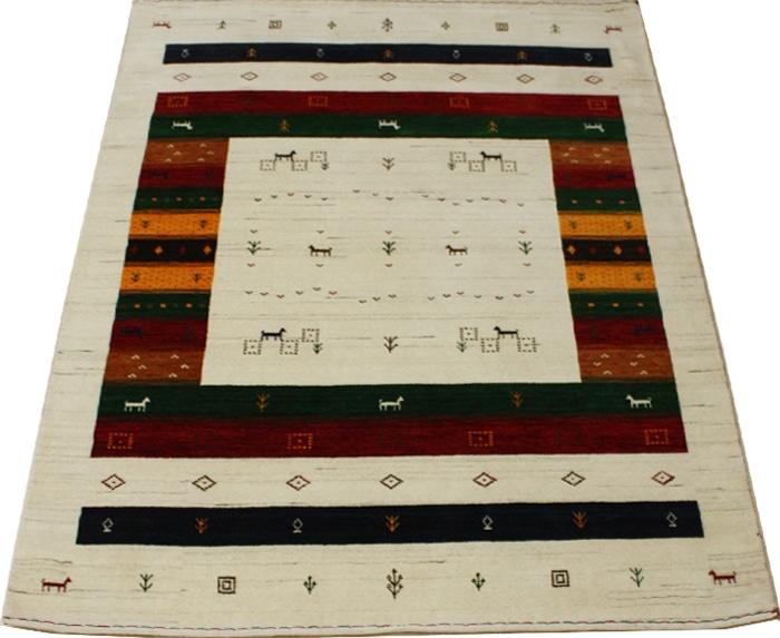 ギャベ絨毯 高密度ギャベ インドギャベ GABBEH 絨毯 じゅうたん ジュータン おしゃれ オシャレ ラグ ラグマット ウール 100% 羊毛 輸入 カーペット インド製 Loribaft ロリバフ 約205×255cm LB-1715 NA (Y) ナチュラル マルチ