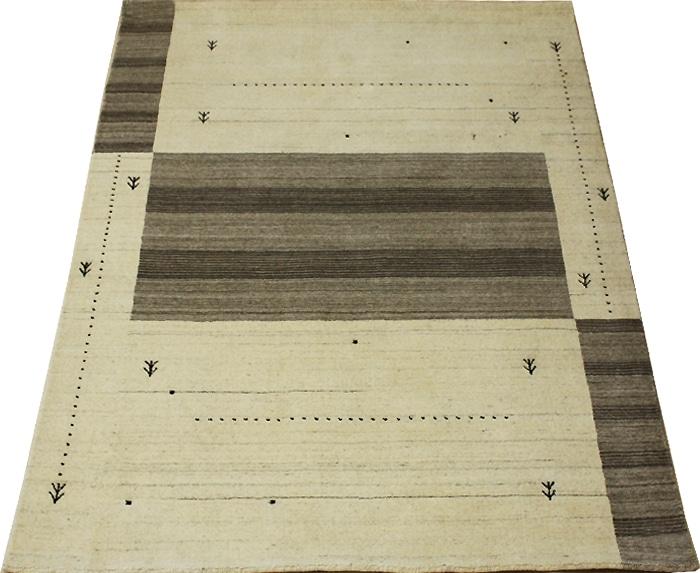 ギャベ絨毯 高密度ギャベ インドギャベ GABBEH 絨毯 じゅうたん ジュータン おしゃれ オシャレ ラグ ラグマット ウール 100% 羊毛 輸入 カーペット インド製 Loribaft ロリバフ 約140×200cm LB-1915N (Y) ベージュ アイボリー