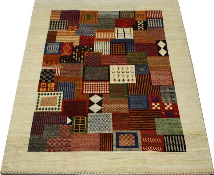 ウール100% ギャッベ絨毯 手織り PG2097 (Y) 約158×218cm マルチカラー 天然草木染め 高級ペルシャギャベ ラグ カーペット ファーハディアン FARHADIAN お買い物マラソン